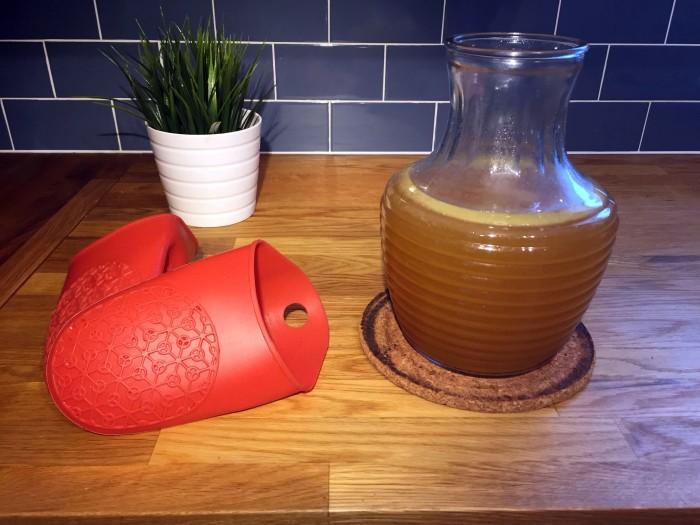 Finished bone broth in jug