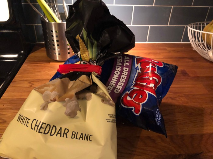 snacks on kitchen counter