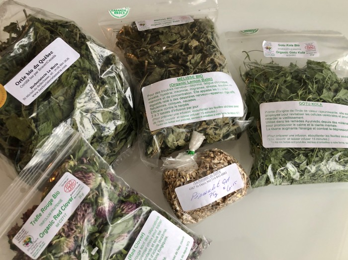 Bags of dried Stinging Nettles, Red Clover, Lemon Balm, Dandelion and Gotu Kola